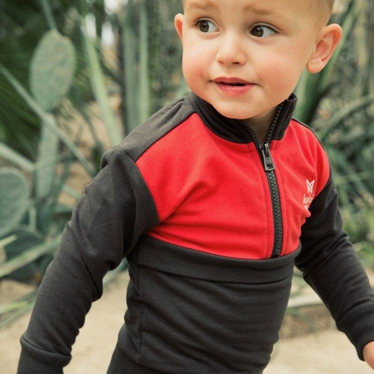 Koko Noko jongens sweater grijs rood | E38858-37