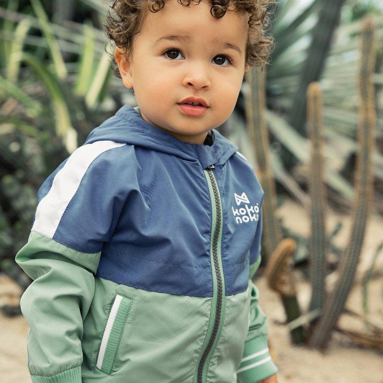 Koko Noko jongens jas blauw groen met capuchon | E38822-37