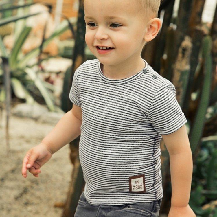 Koko Noko boys T-shirt grey stripe | E38840-37