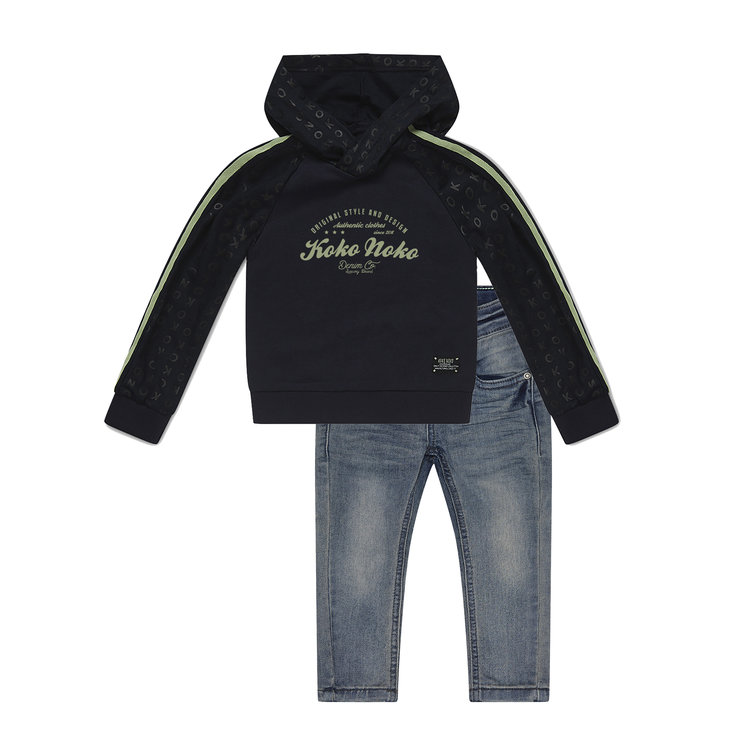 Koko Noko jongens 2-delige set sweater en jeans | E3888081-37