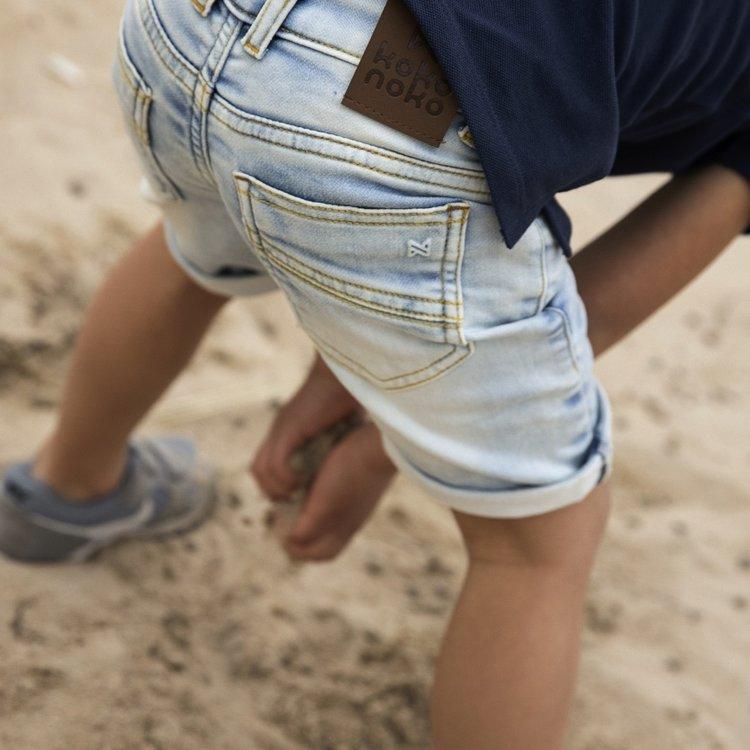 Koko Noko jongens jeans korte broek knit Nils | N825