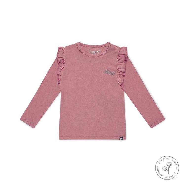Koko Noko meisjes shirt lange mouw Nykee roze | N911