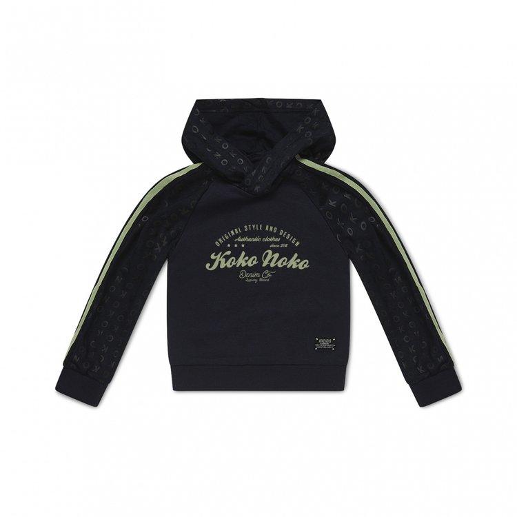 Koko Noko jongens sweater navy met capuchon | E38880-37
