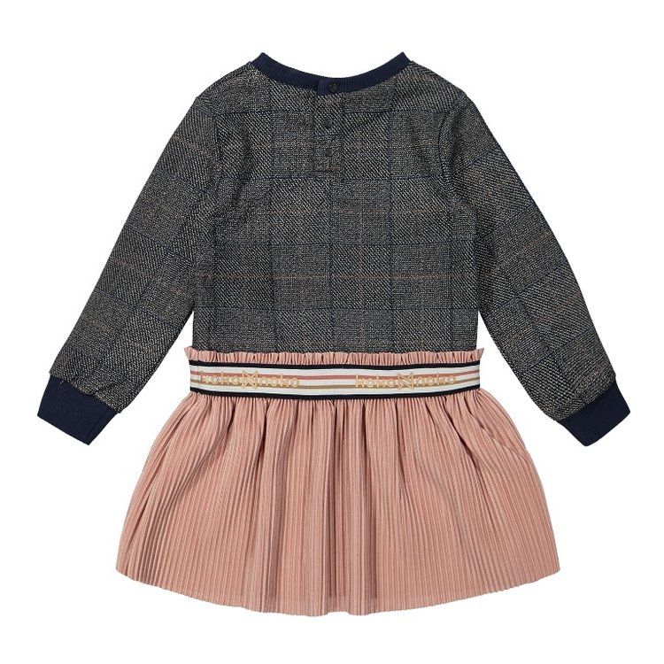 Koko Noko meisjes jurk geruit met plissé rok   F40900-37