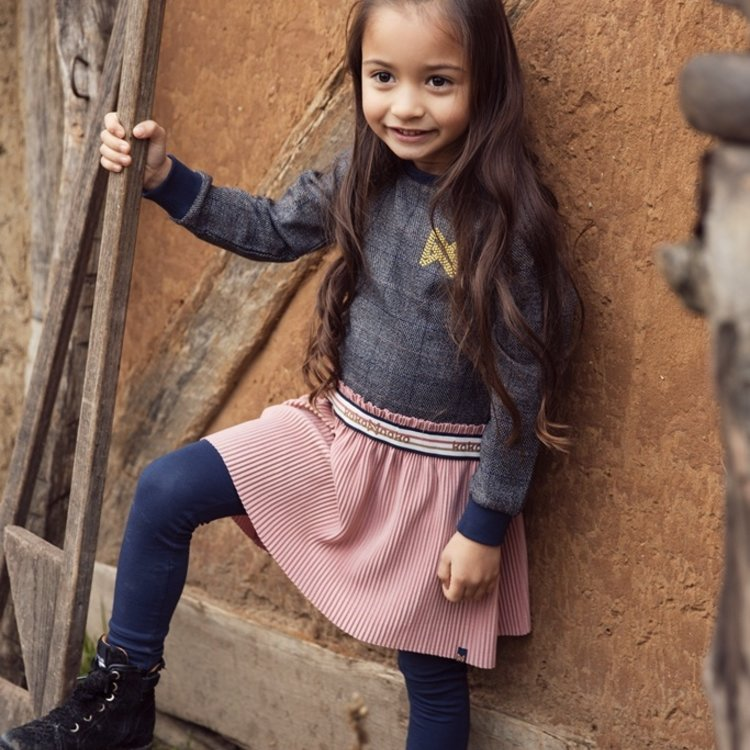 Koko Noko Mädchenkleid mit kariertem Rock | F40900-37