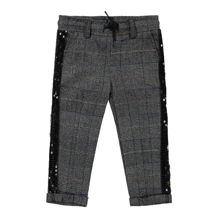 Koko Noko girls pants gray with checks   F40903-37