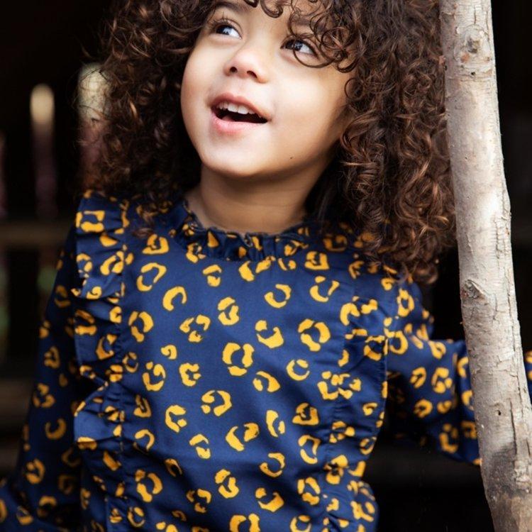 Koko Noko meisjes panter  blouse donkerblauw okergeel | F40909-37