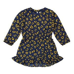 Koko Noko meisjes panter jurk donkerblauw okergeel