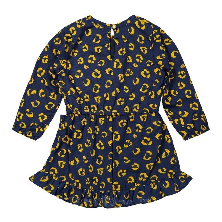 Koko Noko girls panther dress dark blue ochre yellow   F40912-37