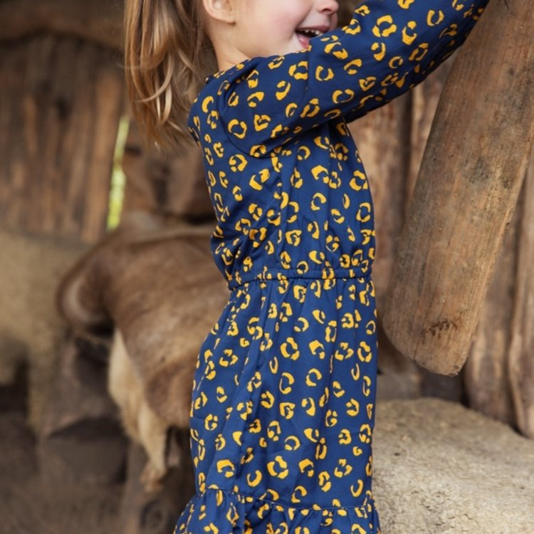 Koko Noko meisjes panter jurk donkerblauw okergeel | F40912-37