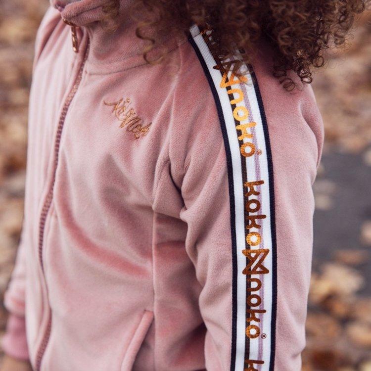 Koko Noko girls cardigan with zipper old pink velour   F40914-37