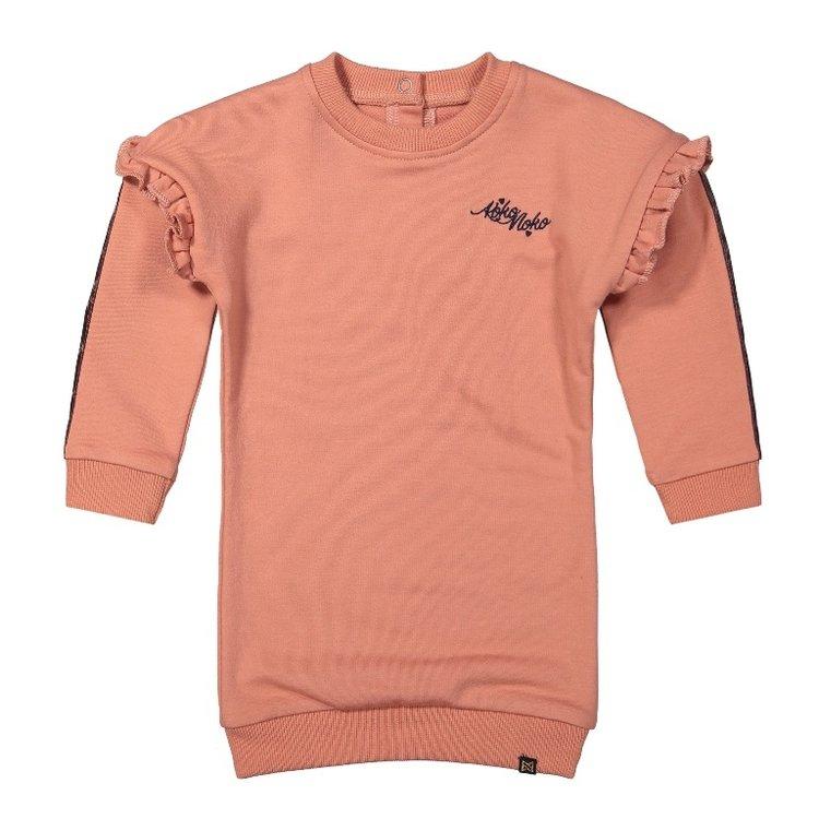 Koko Noko girls sweat dress old pink ruffle | F40916-37
