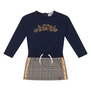 Koko Noko meisjes jurk donkerblauw ruit