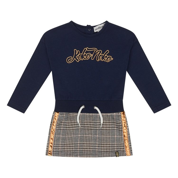 Koko Noko meisjes jurk donkerblauw ruit   F40918-37