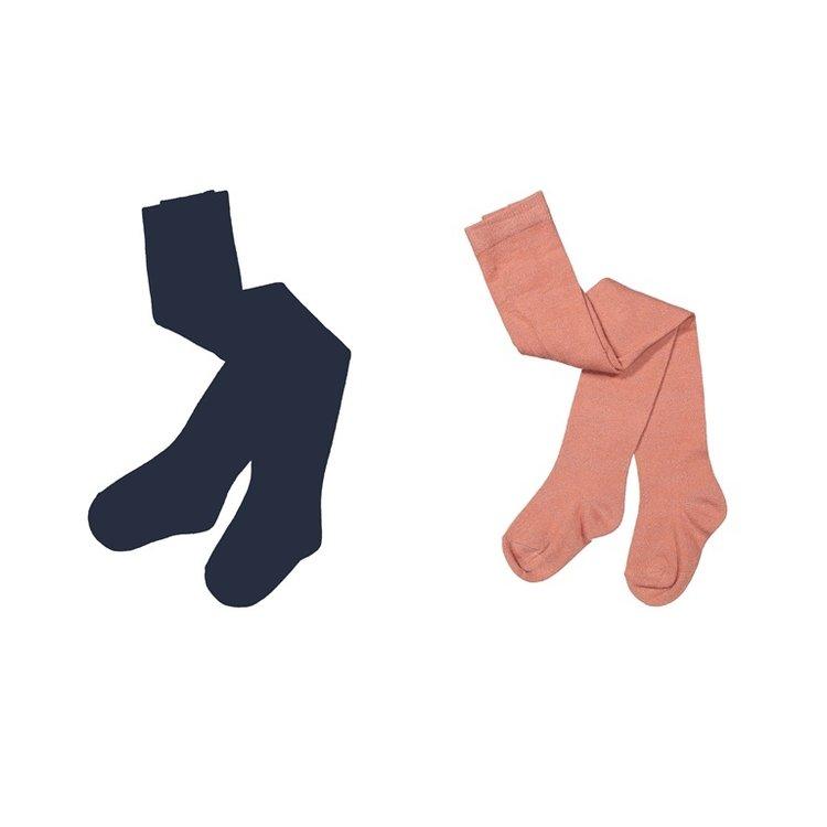 Koko Noko girls tights 2-pack dark blue and old pink   F40919-37
