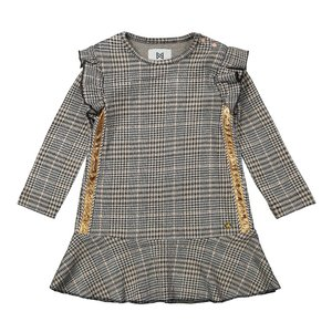 Koko Noko meisjes geruite jurk grijs