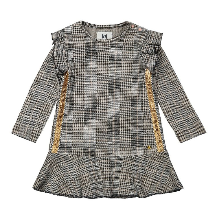 Koko Noko Mädchen kariertes Kleid grau   F40920-37