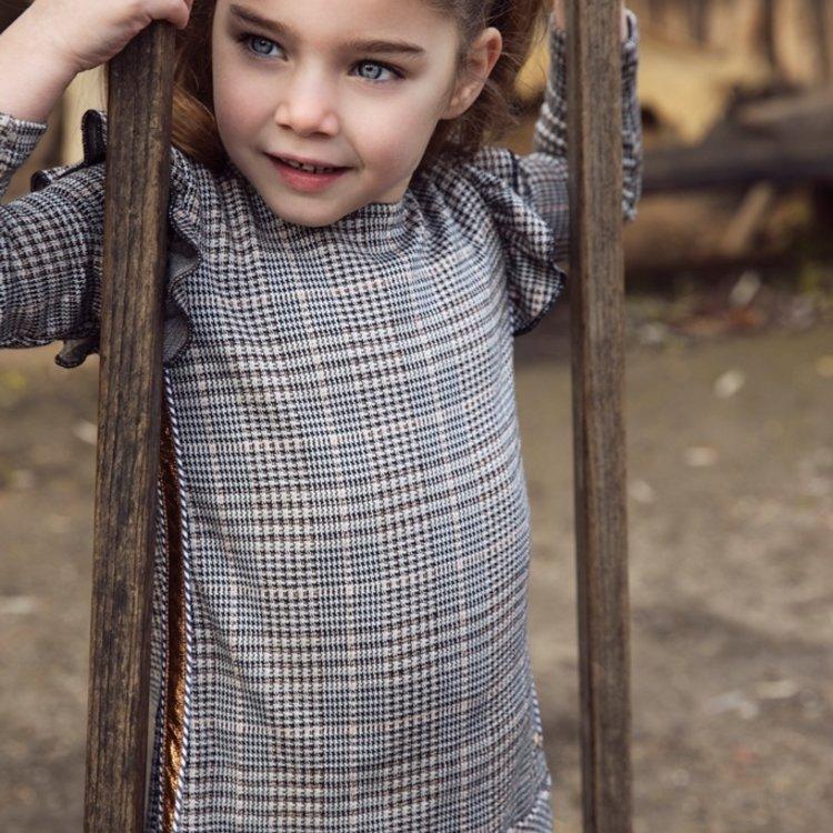 Koko Noko meisjes geruite jurk grijs   F40920-37