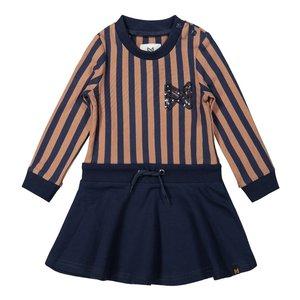 Koko Noko girls dress dark blue camel striped
