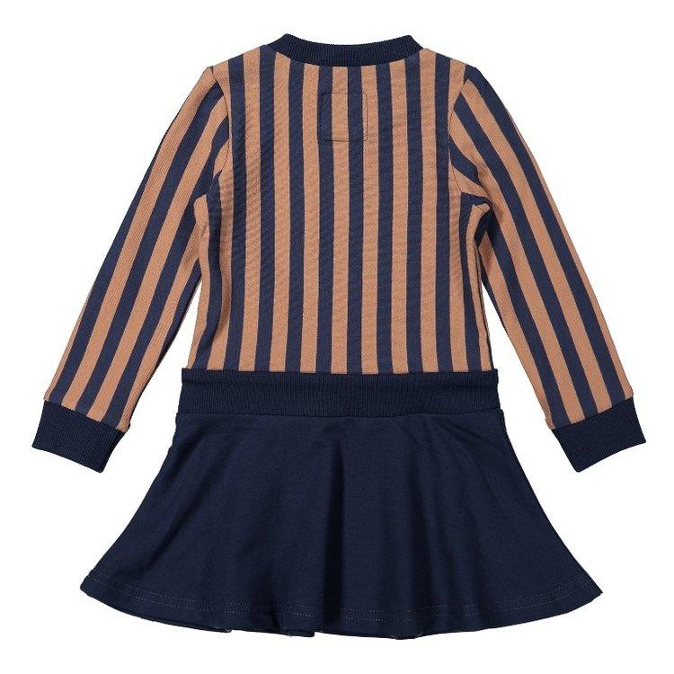 Koko Noko meisjes jurk donkerblauw camel gestreept | F40921-37