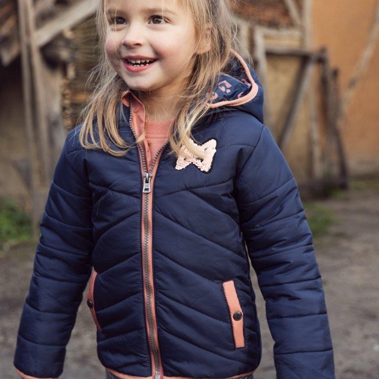 Koko Noko meisjes winterjas donkerblauw met capuchon | F40924-37