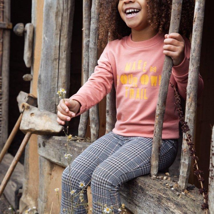 Koko Noko meisjes grijs geruite flared broek   F40923-37