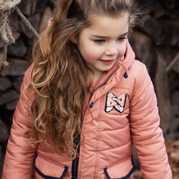 Koko Noko girls winter coat old pink with hood | F40929-37