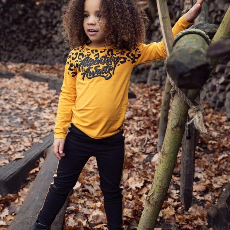 Koko Noko meisjes jogging broek zwart okergeel | F40931-37