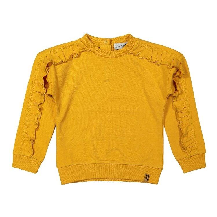 Koko Noko girls sweater ocher yellow with ruffles | F40933-37
