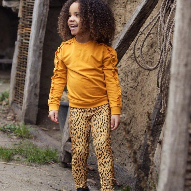 Koko Noko meisjes sweater okergeel met ruches   F40933-37