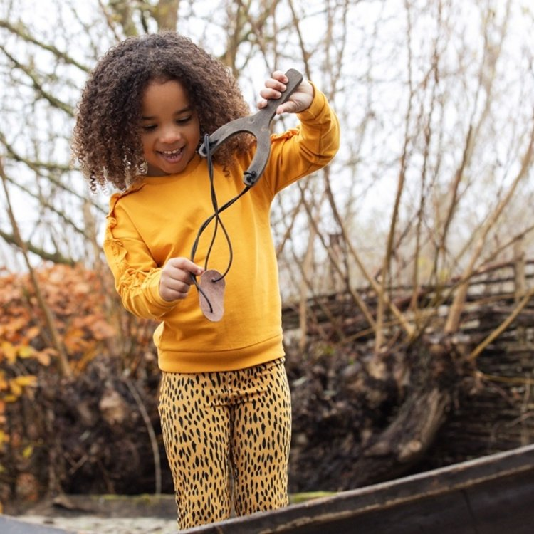 Koko Noko girls tregging ochre yellow leopard print | F40934-37