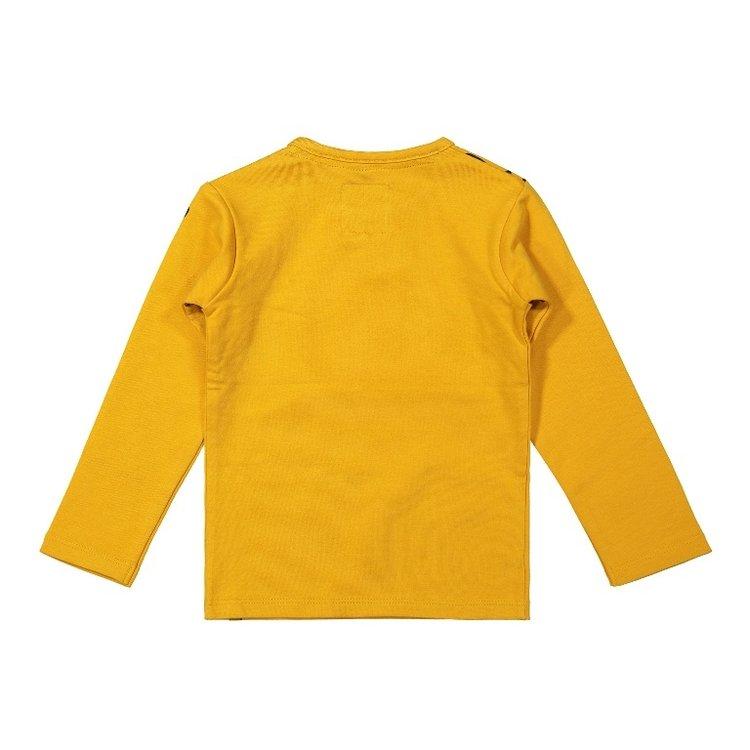 Koko Noko meisjes shirt okergeel met panterprint | F40935-37