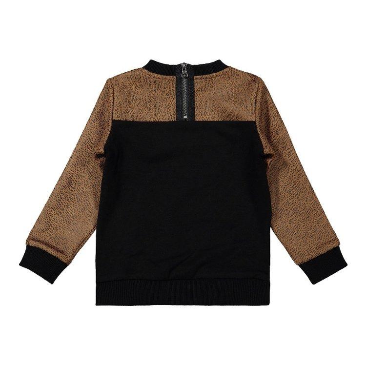 Koko Noko meisjes sweater zwart camel | F40936-37