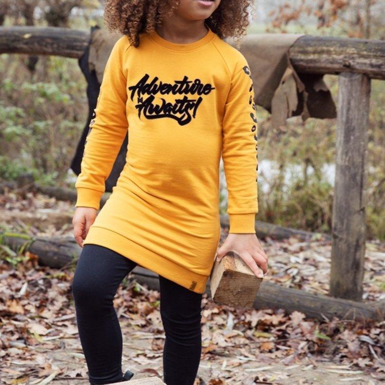 Koko Noko girls sweat dress ocher yellow   F40938-37