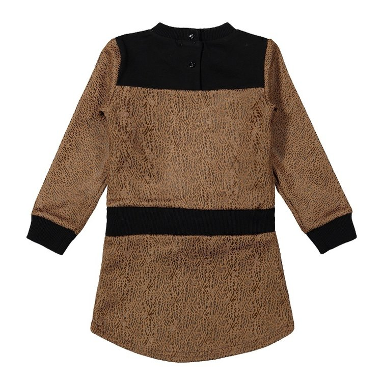 Koko Noko meisjes jurk camel zwart   F40943-37