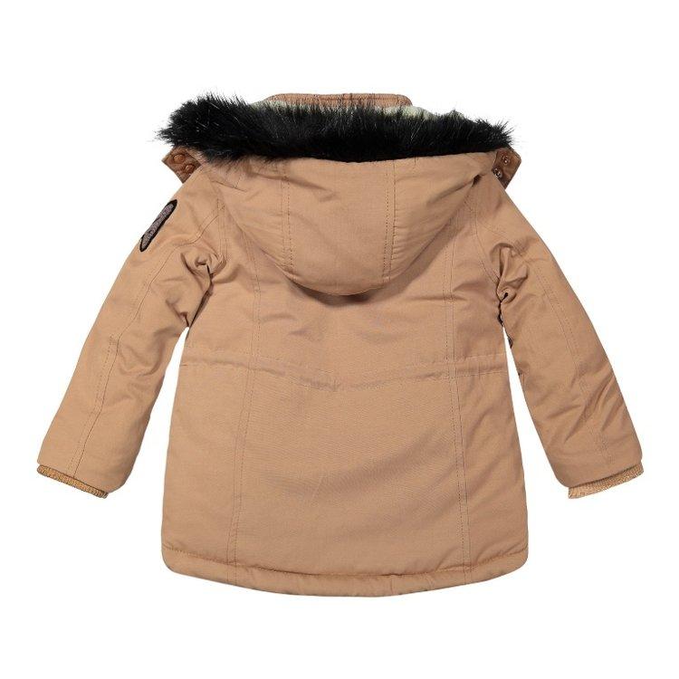 Koko Noko meisjes winterjas parka camel met capuchon   F40945-37