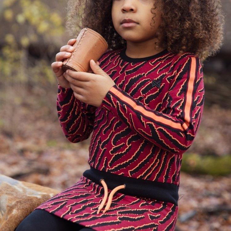 Koko Noko meisjes jurk bordeaux rood zwart | F40952-37