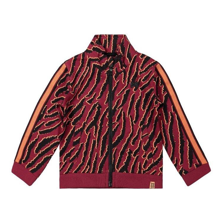 Koko Noko girls cardigan bordeaux red tiger print | F40957-37