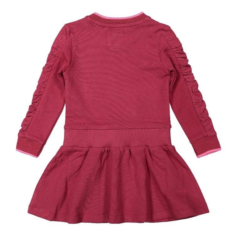 Koko Noko meisjes jurk bordeaux rood zwart   F40961-37