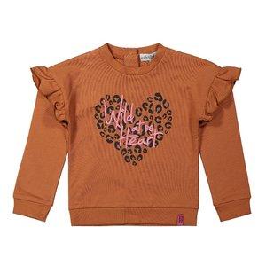 Koko Noko meisjes sweater roest bruin met ruches