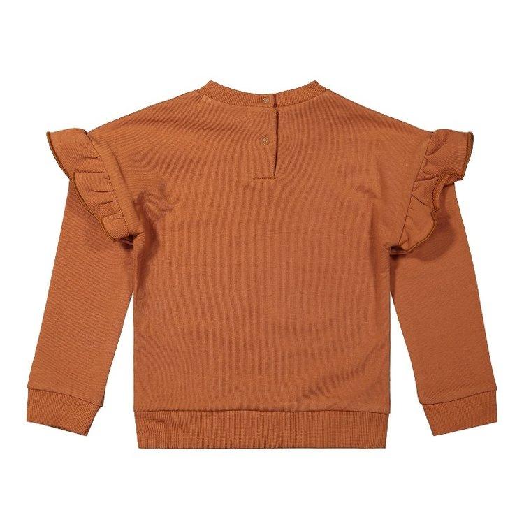 Koko Noko meisjes sweater roest bruin met ruches   F40972-37