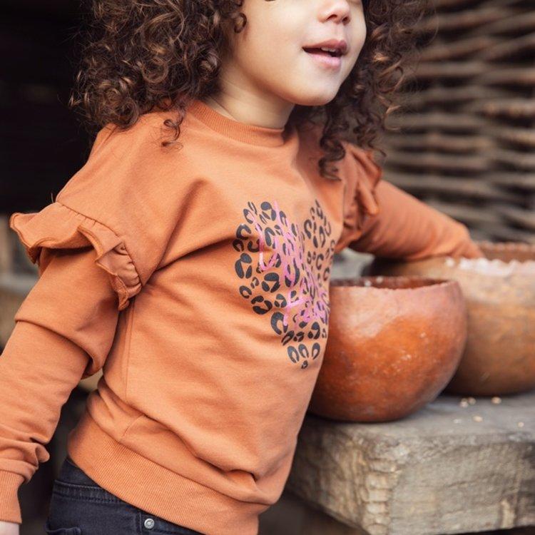 Koko Noko girls sweater rust brown with ruffles | F40972-37