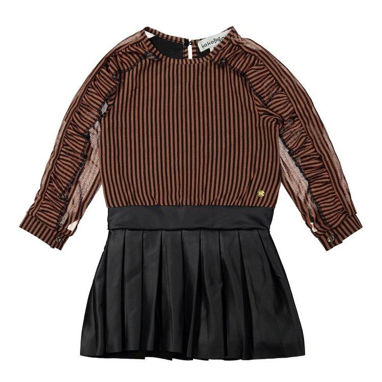 Koko Noko meisjes jurk roest bruin | F40978-37