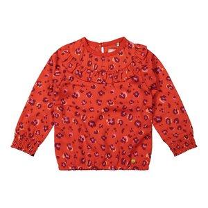 Koko Noko meisjes blouse rood panterprint