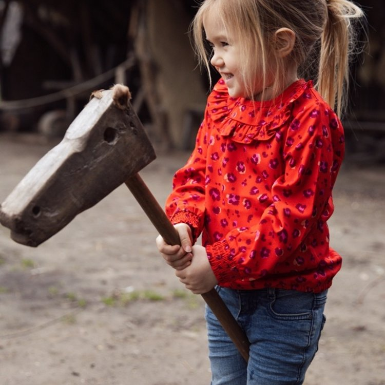 Koko Noko meisjes blouse rood panterprint   F40980-37