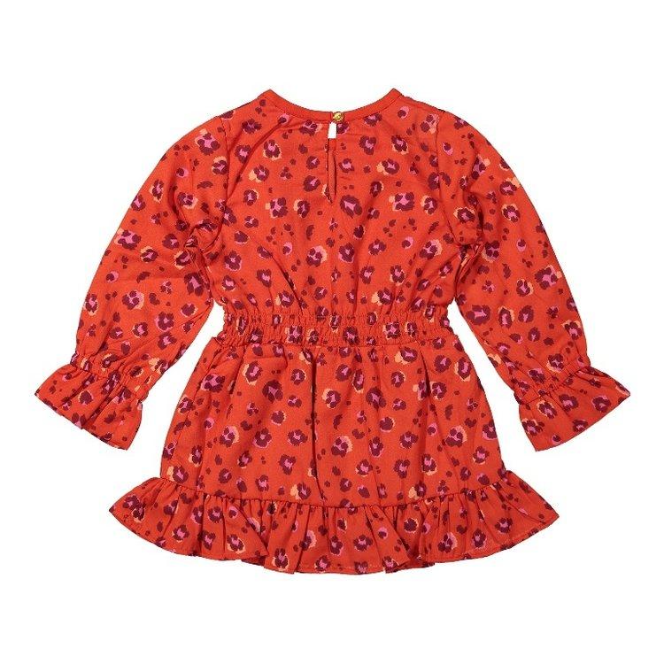 Koko Noko girls dress red panther print   F40982-37