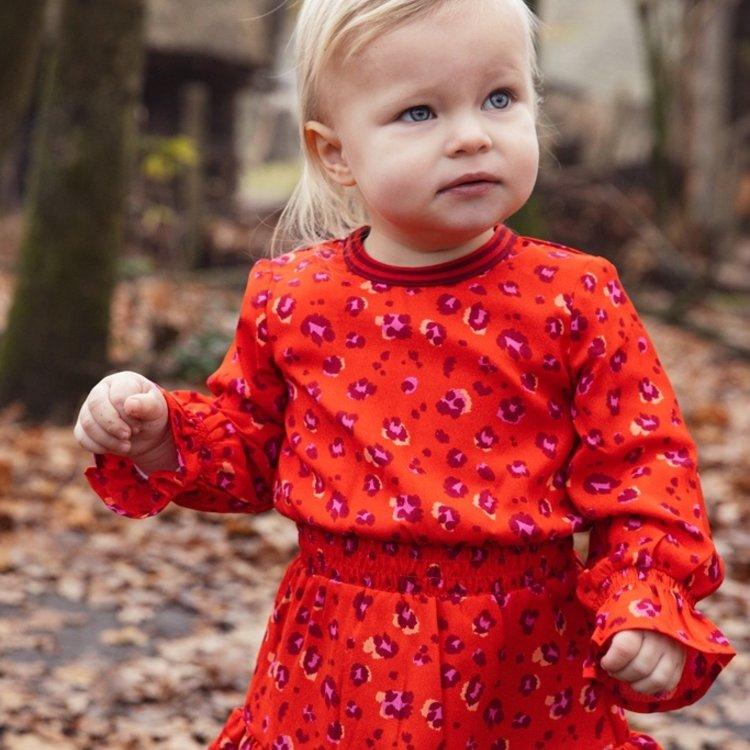 Koko Noko meisjes jurk rood panterprint   F40982-37