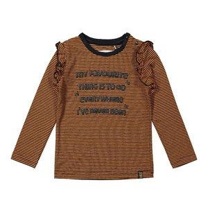 Koko Noko meisjes shirt roest bruin gestreept met ruches
