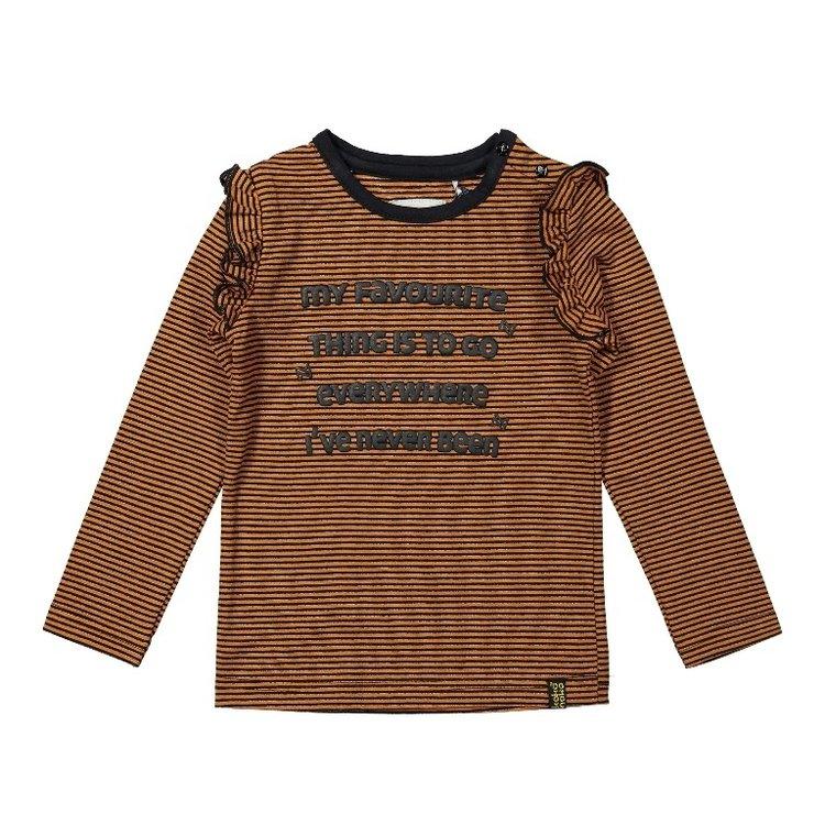 Koko Noko Mädchen Shirt rostbraun gestreift mit Rüschen | F40983-37