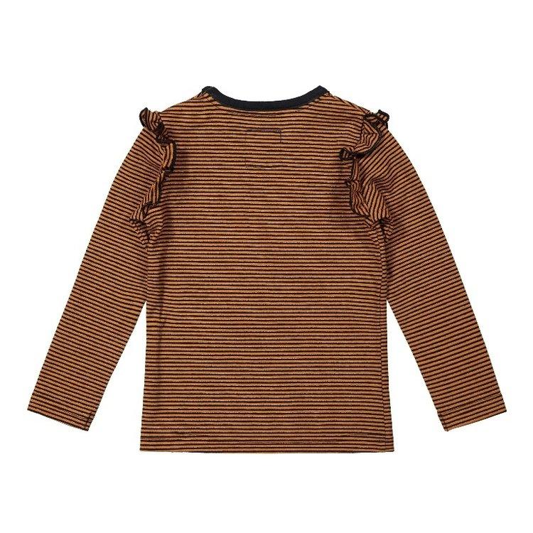 Koko Noko meisjes shirt roest bruin gestreept met ruches   F40983-37
